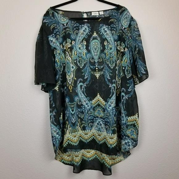 Cato Tops - Cato sheer paisley print tunic